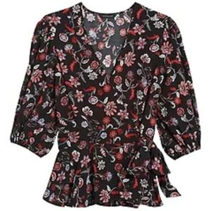 Banana Republic Floral Wrap Top with Peplum